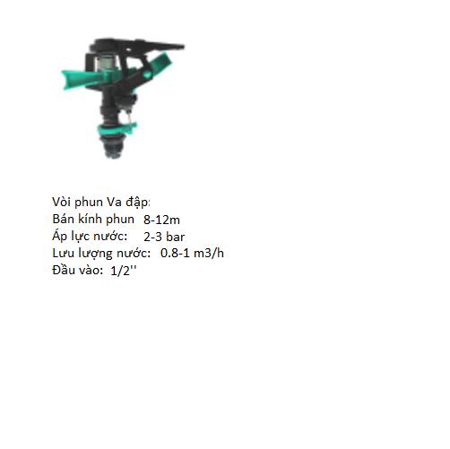 Vòi phun va đập điều chỉnh góc phun 0-360 độ